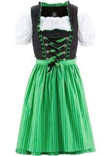 Короткое платье, блузка и фартук немецкого народного костюма (черный/зеленый) Bonprix