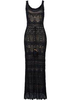Вязаное платье (черный/светло-коричневый) Bonprix