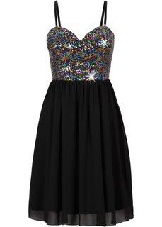 Шифоновое платье с пайетками (черный) Bonprix