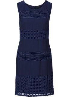 Платье с гипюровыми вставками (темно-синий) Bonprix