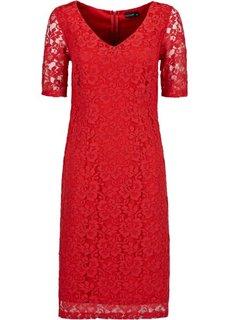 Кружевное платье (красный) Bonprix