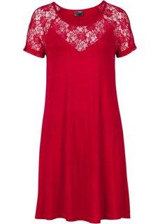 Трикотажное платье с кружевной отделкой (темно-красный) Bonprix