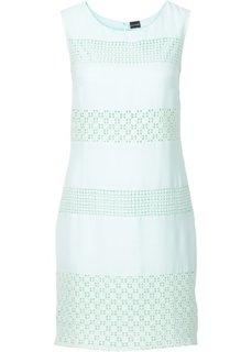 Платье с гипюровыми вставками (мятный пастельный) Bonprix
