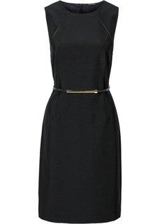 Платье + ремень (2 изд.) (черный) Bonprix