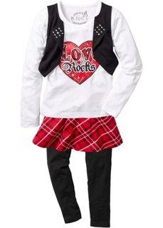 Комплект: футболка+юбка+леггинсы (3 изд.) (красный/черный/белый) Bonprix