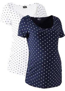 Мода для беременных: футболка с коротким рукавом (2 шт.) (белый в горошек/темно-синий в горошек) Bonprix