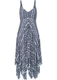Обязательный элемент гардероба: платье с асимметричным низом (цвет белой шерсти/темно-синий с узором) Bonprix