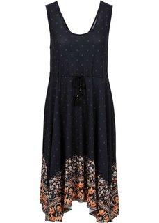Платье с удлиненными краями (черный с рисунком) Bonprix
