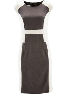 Платье-футляр с тефлоновым покрытием (серый меланж/цвет белой шерсти) Bonprix