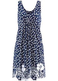 Трикотажное платье стретч (темно-синий с рисунком) Bonprix