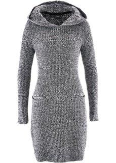Вязаное платье с капюшоном (черный/белый меланж) Bonprix
