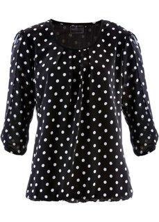 Блузка с принтом (черный/белый в горошек) Bonprix