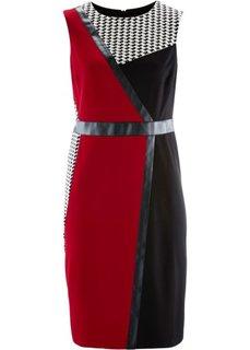Трикотажное платье (черный/темно-красный/белый) Bonprix