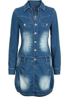 Джинсовое платье с длинным рукавом (синий «потертый») Bonprix