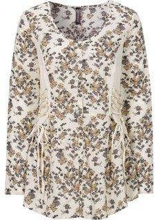 Трикотажная блузка с лентами для завязывания (кремовый/новый бежевый с рисунком) Bonprix