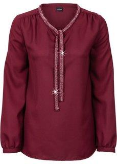 Блузка с аппликацией из искусственного жемчуга (темно-бордовый) Bonprix
