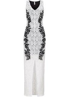 Платье с напринтованным кружевным узором (цвет белой шерсти/черный) Bonprix