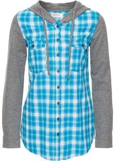 0a8495a792e Клетчатая блуза с трикотажными рукавами и капюшоном (бирюзовый в клетку)  Bonprix