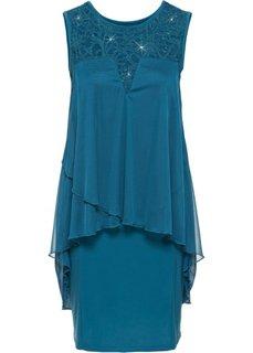 Платье из трикотажа и шифона (сине-зеленый) Bonprix