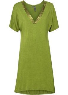 Трикотажное платье с сатиновыми элементами (зеленый) Bonprix