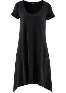Платье А-силуэта из трикотажа фламе (черный) Bonprix