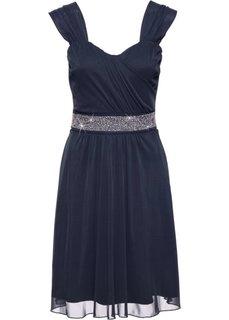 Коктейльное платье из сеточки и трикотажа (темно-синий) Bonprix