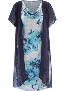 Трикотажное платье 2 в 1 (светло-серый меланж/синий индиго с рисунком) Bonprix