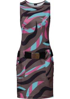 Платье с карманами (коричневый/бирюзовый с принтом) Bonprix