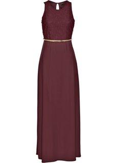 Трикотажное макси-платье с ремнем в талии (темно-бордовый) Bonprix