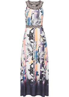 Длинное платье с принтом (цвет белой шерсти/желтый/ярко-розовый с рисунком) Bonprix