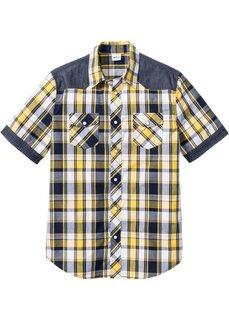 Рубашка стандартного покроя с коротким рукавом (желтый в клетку) Bonprix