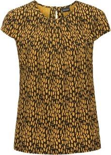 Блузка (черный/горчично-желтый с рисунком) Bonprix