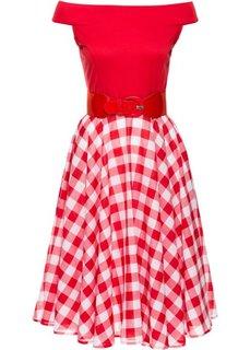 Платье с открытыми плечами (красный/белый) Bonprix