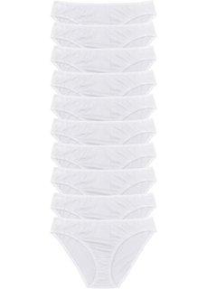 Трусики-слипы (10 шт.) (белый) Bonprix