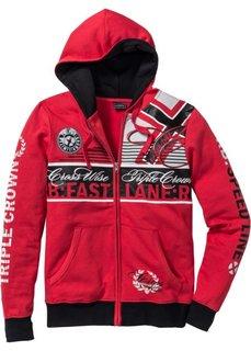 Трикотажная куртка Slim Fit (красный) Bonprix