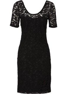 Кружевное платье-футляр (черный) Bonprix