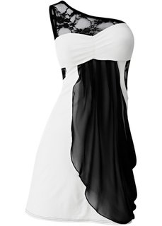 Платье на одно плечо (кремовый/черный) Bonprix