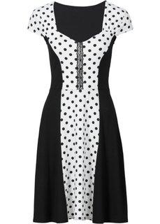 Платье со вставкой в горошек (цвет белой шерсти/черный в горошек) Bonprix
