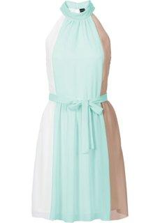 Платье с американской проймой (белый/мятный пастельный/серо-коричневый в полоску) Bonprix
