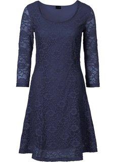 Платье с кружевом (темно-синий) Bonprix