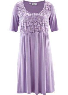 Трикотажное платье с кружевом и коротким рукавом (сиреневый) Bonprix