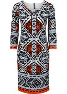 Вязаное платье (светло-серый меланж/оранжевый/серебристо-серый с рисунком) Bonprix