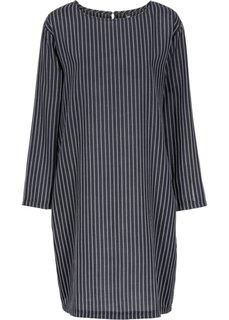 Платье-оверсайз с карманами (черный/серебристый в полоску) Bonprix