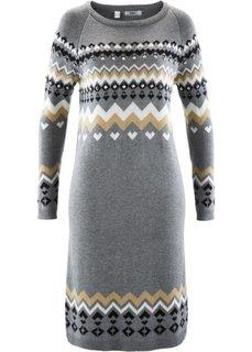 Вязаное платье (серый меланж с узором) Bonprix