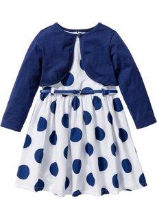 Платье + ремень + болеро (3 изд.) (белый/ночная синь в горошек) Bonprix