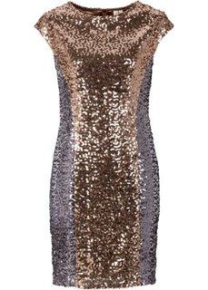 Платье с пайетками (черный/телесный) Bonprix