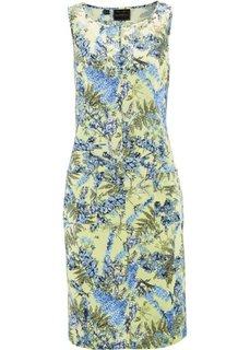 Льняное платье с цветочным принтом (нежно-лимонный с рисунком) Bonprix