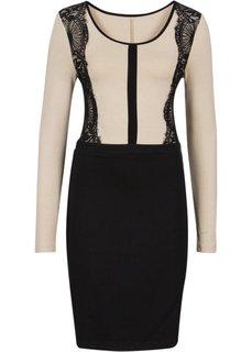 Платье с кружевной отделкой (черный/бежевый) Bonprix