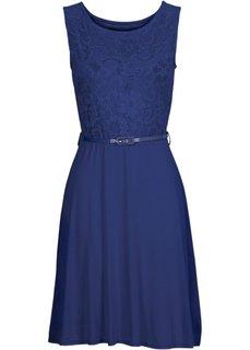 Трикотажное платье с кружевом (ночная синь) Bonprix