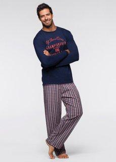 Мужская пижама (синий/белый/оранжевый с узором) Bonprix